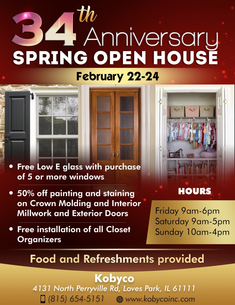 2019 34th Anniversary Open House Sale Flyer. Replacement Windows, Doors, Closet Organizers, Crown Molding, Interior Trim, Retractable Awnings