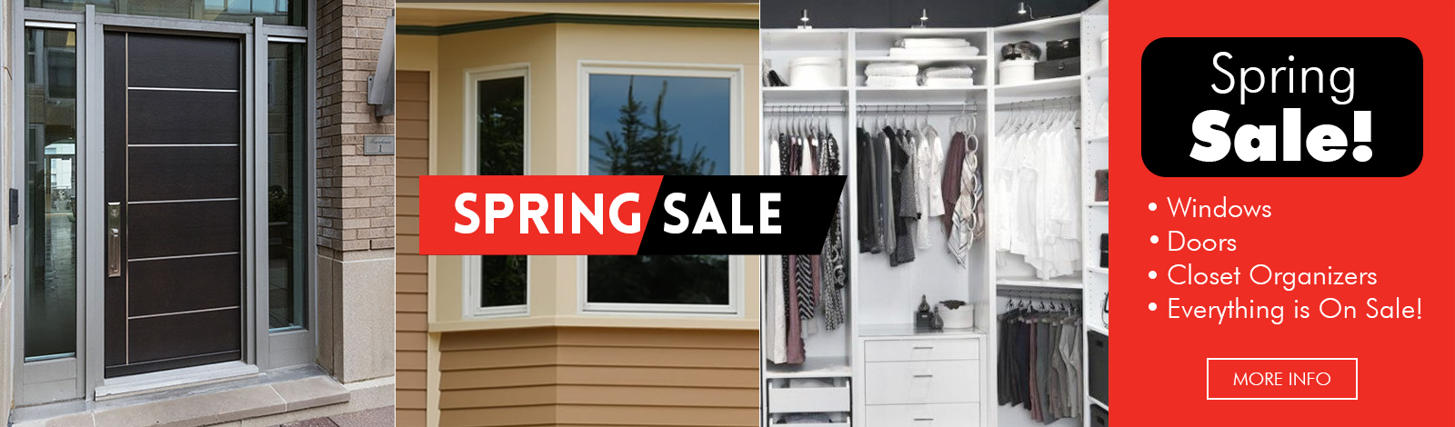 Kobyco Windows and Doors Spring Sale! Replacement windows, doors, entry doors, patio doors, sliding doors, closet organizers, retractable awnings, crown molding